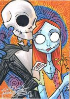 Jack and Sally sketch card by KidNotorious