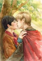 Arthur Merlin -kiss by Maria-Sandary