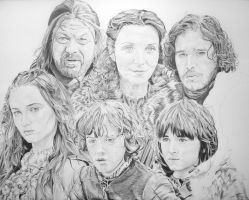 Game Of Thrones House Stark (WIP 80%) by PortraitLc