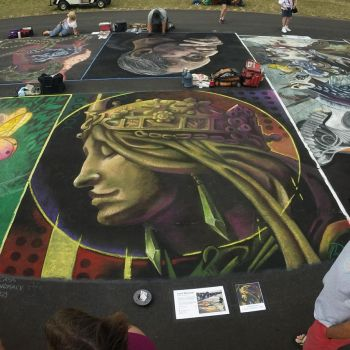Alphonse Mucha la nature Chalk Art by charfade