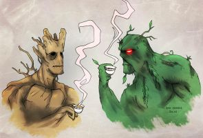 Groot and Swamp Thing by ksol-unlimited
