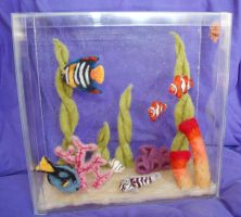 Needle Felted Fish Aquarium by amber-rose-creations