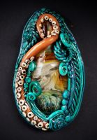 Octopus Garden polymer clay and boro glass pendant by dogzillalives