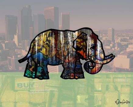elephant in the city by eggay