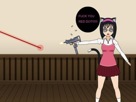 Neko is tired of the red dot by YandereofDarkness
