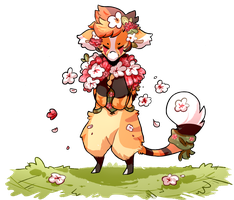 Hugging a bouquet of flowers by claryua
