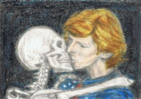 Cracked Actor kissing a skeleton by gagambo