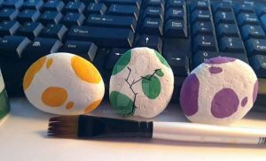 PokeEgg Painted Rocks by Batnamz