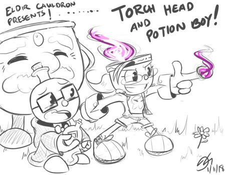 TorchHead and PotionBoy Doodle! by MinionKing