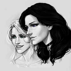 Ciri and Yennefer by NastyaSkaya