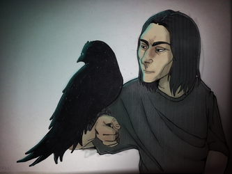 Teenage Snape and Raven by SessKaka