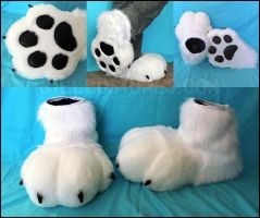 White fursuit feet by jillcostumes