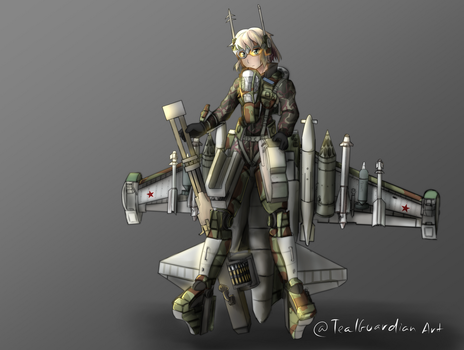 Su-25T standing pose by TealGuardian