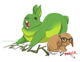 the hulk and bruce bunny by alienfirst