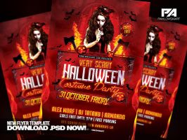 Very Scary Halloween Party Flyer Template by pawlowskiart