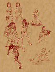 Sketches poses female one male by discipleneil777
