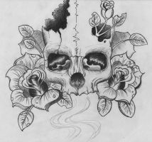 Skull and Roses by Karcoolkaaa