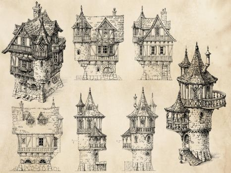 Fantasy Houses by GrimDreamArt