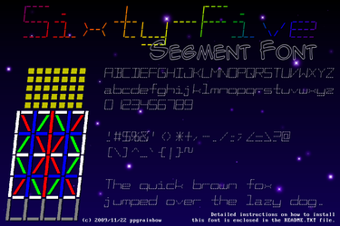 Sixty-Five Segment Font by ppgrainbow