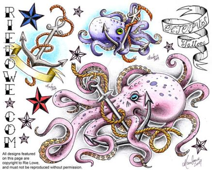 Octopus Tattoo Flash by onksy