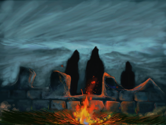 LOTR: Ring-Wraiths on Weathertop by philippeL