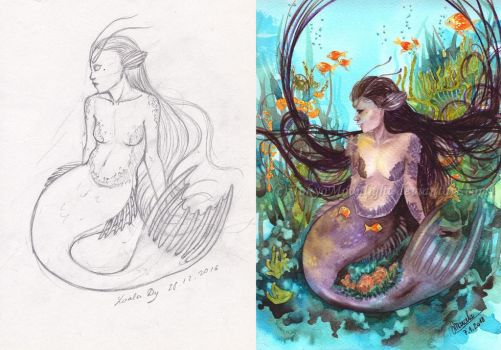 Mermaid Collab Sketch VS Painting by LualaDy