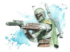 Star Wars Watercolor Print: Boba Fett by JAWart728