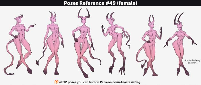 Poses Reference #49 (female) (demons) by Anastasia-berry
