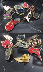 Persona5 Masks Enamel Pins by Aka-Shiro
