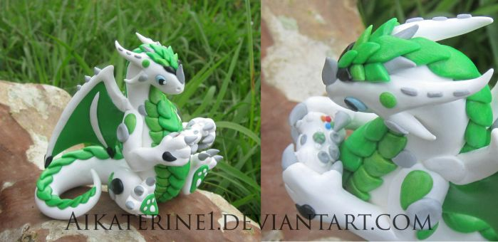 White Green Xbox 360 Polymer Clay Dragon by MiniMythicalMonsters