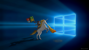 Windows 10 Ninja Cat Unicorn 1280 px wide by KrokoZero