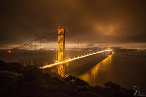 Night Shot of Golden Gate Bridge by jvisuals