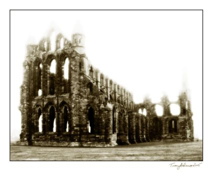 Whitby Abbey in the fog by vcrimson