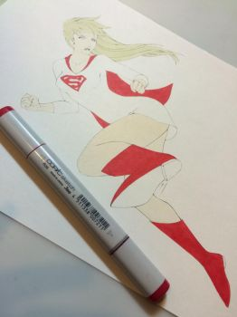 Super Girl- base layer of red by Nana-Marchae