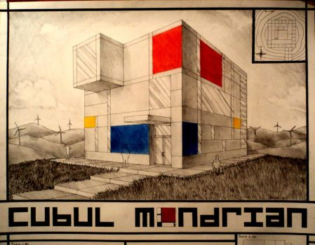 Mondrian's Cube Detail by BluPaint