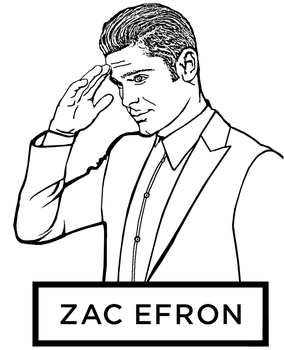 Zac Efron coloring page by Topcoloringpages