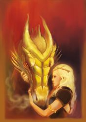 Daenerys and Viserion by Mokinow