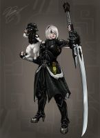 Monster Hunter: 2B and Nines by Guyver89