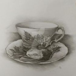 Dead wren and vintage crockery by aliceinsane
