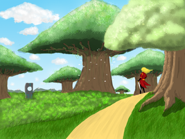 Lady looking at big trees by HenryBiscuitfist