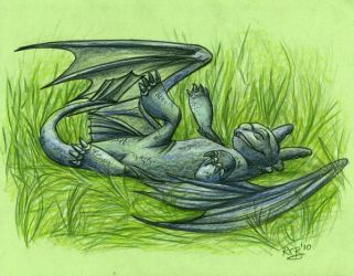 Toothless Enjoys The Grass by A113Panda