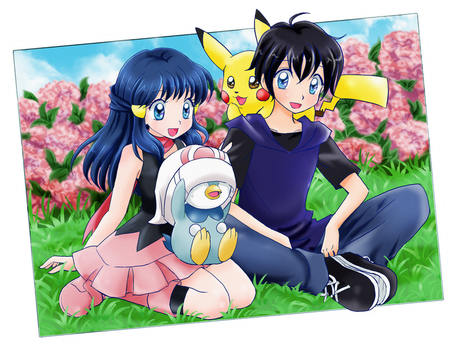 Dawn, Ben and pokemons - Commission by chikorita85