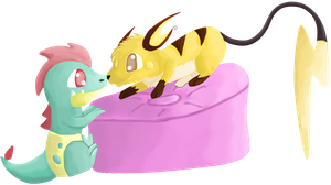 Croconaw and Raichu by AlchemiEvil