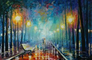 Misty Night Park by Leonid Afremov by Leonidafremov