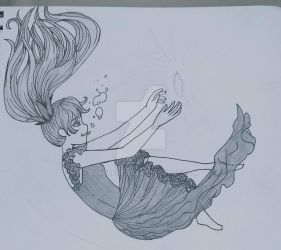 Deep Sea Girl Sketch (Working on Digital Version) by Blabbercat