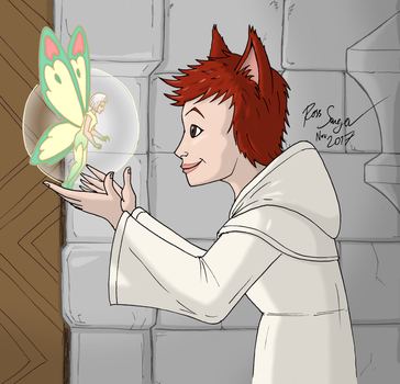 Floof the Scholar (with fairy Compy) by Ross-Sanger