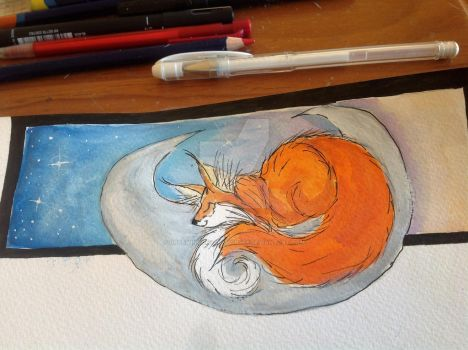 Moon Fox Bookmark by DreamingofDarkhorses