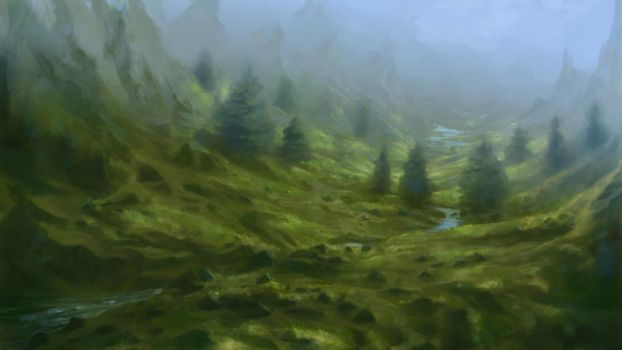 paint a foggy landscape by Sketchbookuniverse
