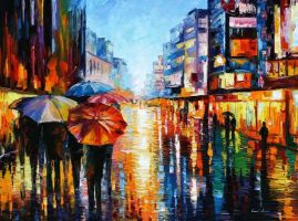 Night Umbrellas by Leonid Afremov by Leonidafremov