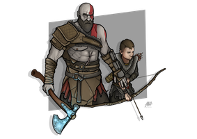 Kratos and Atreus - God of War by MatthewHogben
